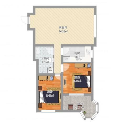 帝景公馆2室2厅1卫1厨74.00㎡户型图