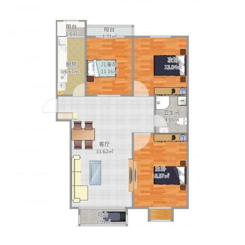 南方庄69号院3室1厅1卫1厨93.31㎡户型图