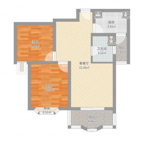 海上印象花园2室2厅1卫1厨69.00㎡户型图