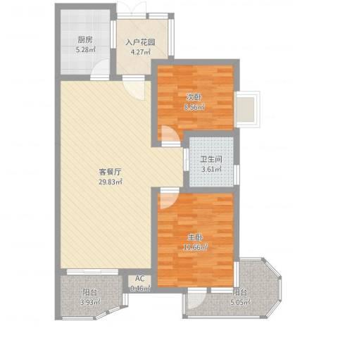 中铁人才家园2室2厅1卫1厨91.00㎡户型图