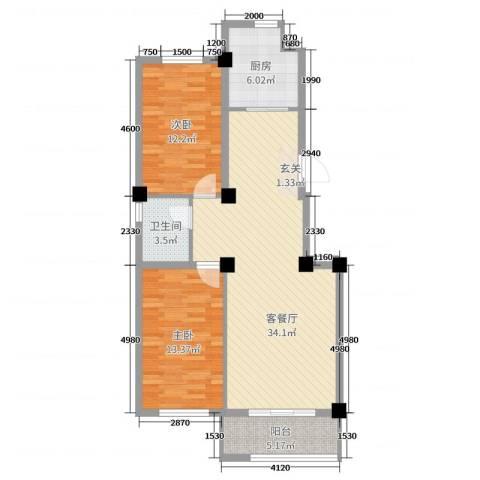 都市华庭2室2厅1卫1厨102.00㎡户型图
