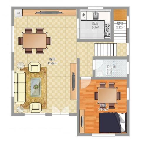 东兴街1041室1厅1卫1厨85.00㎡户型图