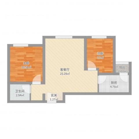 青果青城2室2厅1卫1厨65.00㎡户型图