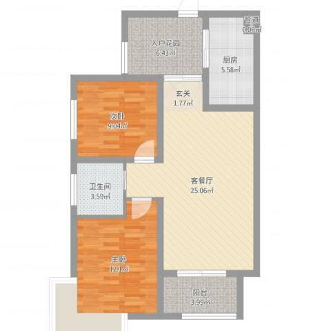 东方格兰维亚2室2厅1卫1厨82.00㎡户型图