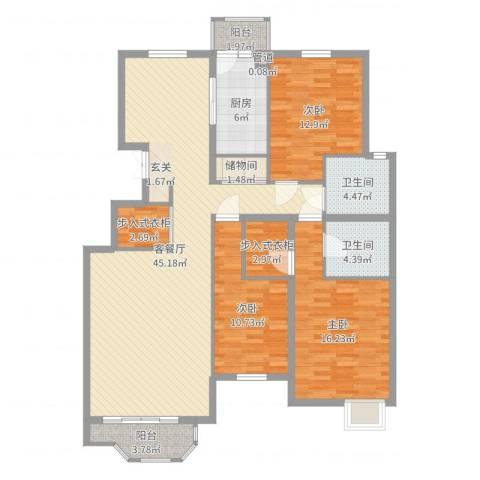 银丰山庄3室2厅2卫1厨141.00㎡户型图