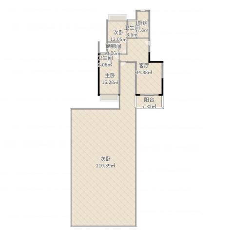 凯茵豪庭3室1厅2卫1厨373.00㎡户型图