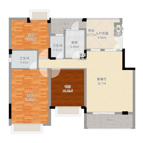 光明农场东区3室2厅2卫1厨143.00㎡户型图
