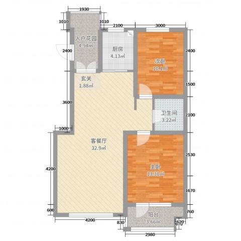 海韵星城2室2厅1卫1厨93.00㎡户型图