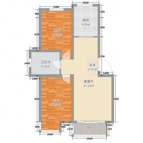 宏运新城2室2厅1卫1厨93.00㎡户型图