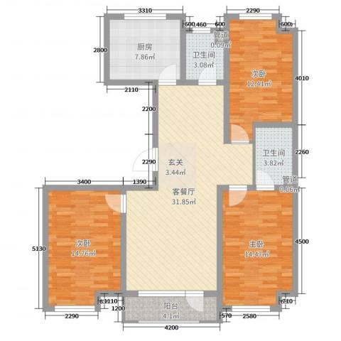 宏运新城3室2厅2卫1厨130.00㎡户型图