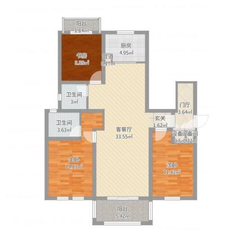 浅水湾恺悦名城3室2厅2卫1厨114.00㎡户型图