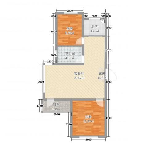 宏运新城2室2厅1卫1厨88.00㎡户型图