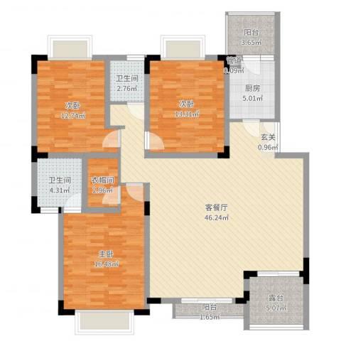 美好家园3室2厅2卫1厨143.00㎡户型图