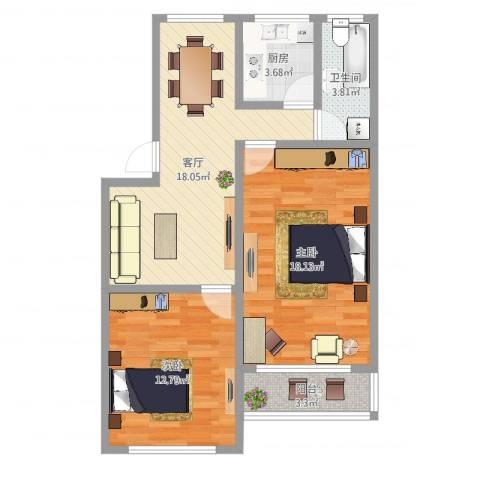 绿星小区2室1厅1卫1厨75.00㎡户型图