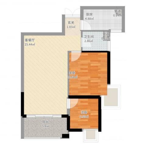 九仰梧桐公寓2室2厅1卫1厨79.00㎡户型图
