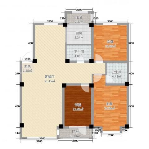 宏运新城3室2厅2卫1厨139.00㎡户型图