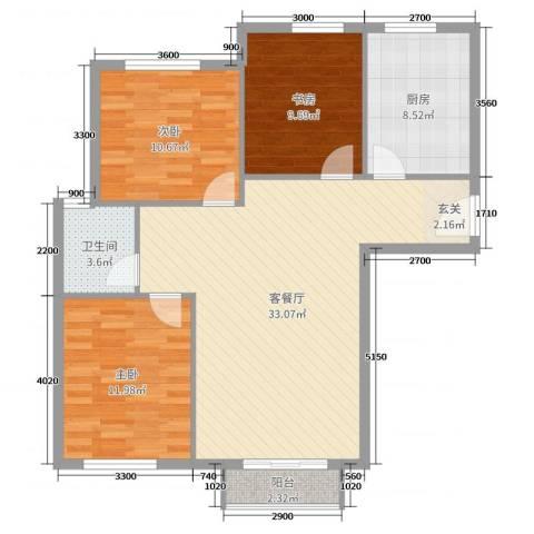 首创・象墅3室2厅1卫1厨107.00㎡户型图