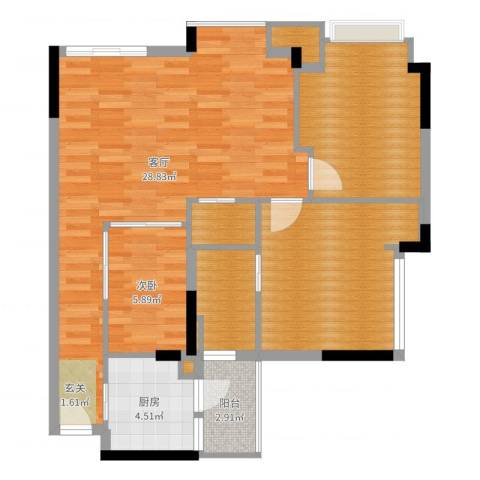 雅居乐城南源著1室1厅6卫2厨88.00㎡户型图