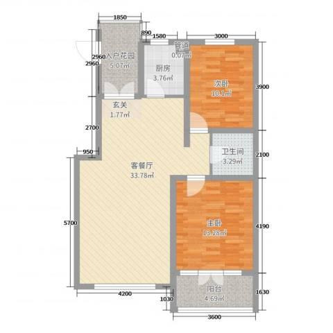 海韵星城2室2厅1卫1厨96.00㎡户型图