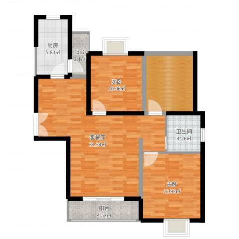 骏丰嘉骊花园2室2厅1卫1厨100.00㎡户型图