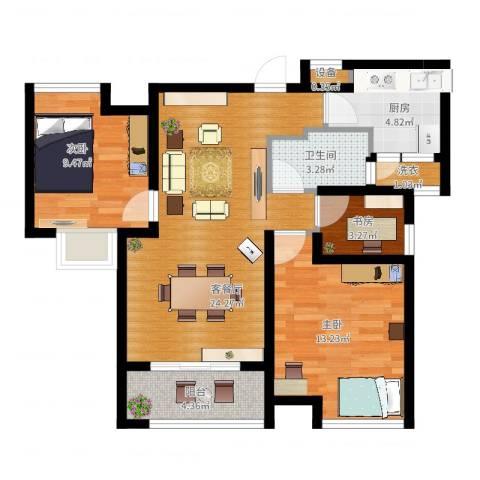 中铁滨湖名邸3室2厅1卫1厨94.00㎡户型图