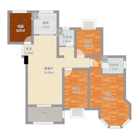 如皋中南世纪城4室2厅2卫1厨116.00㎡户型图
