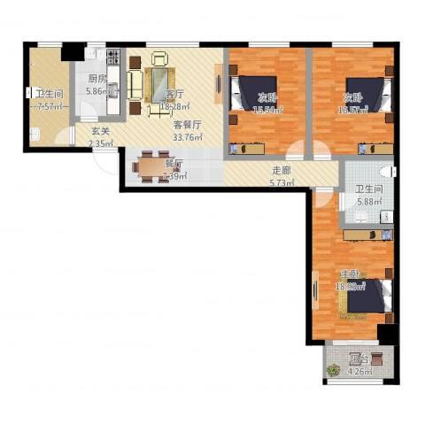 蒲公英国际广场3室2厅2卫1厨108.37㎡户型图