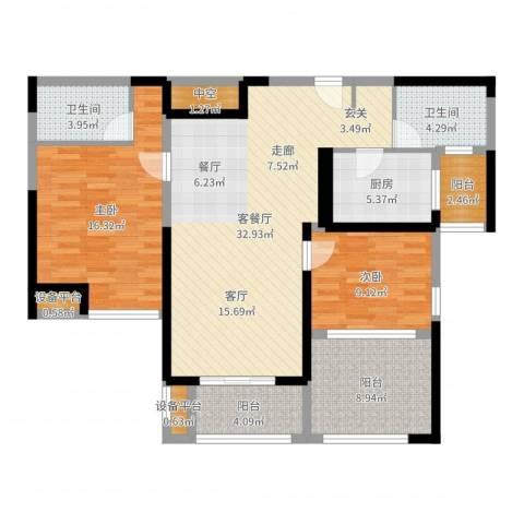 金海名园2室2厅2卫1厨112.00㎡户型图