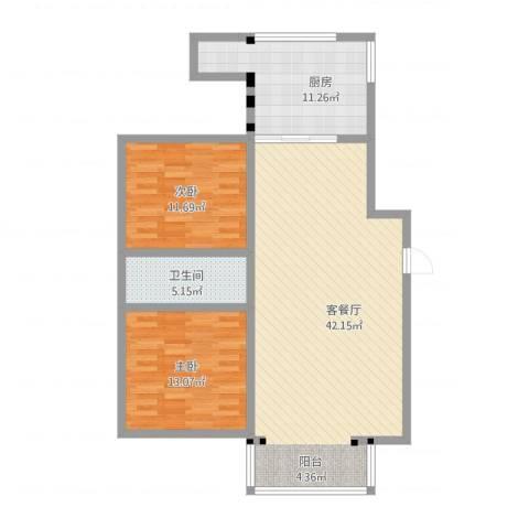 金鑫花苑2室2厅1卫1厨117.00㎡户型图