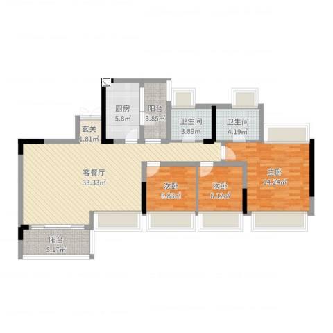 花海湾3室2厅2卫1厨104.00㎡户型图
