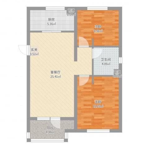万科魅力之城2室2厅1卫1厨77.00㎡户型图