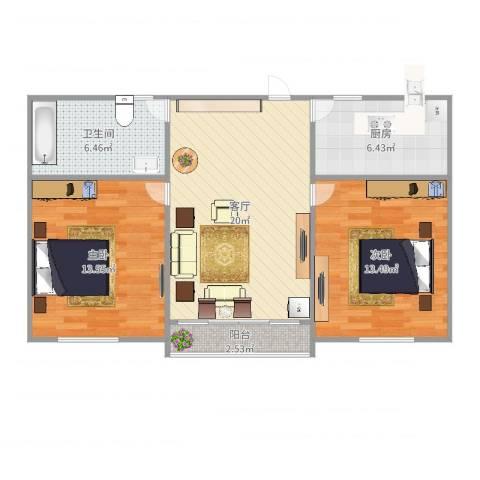 龙柏一村2室1厅1卫1厨78.00㎡户型图