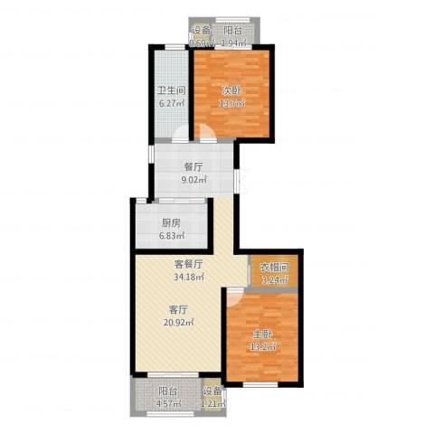 优山美地2室2厅1卫1厨107.00㎡户型图