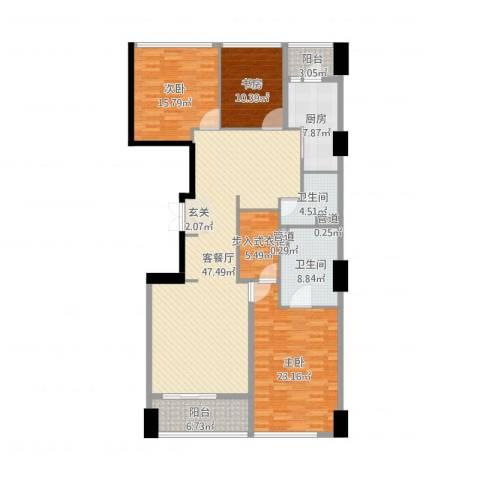 苏宁广场3室2厅2卫1厨167.00㎡户型图