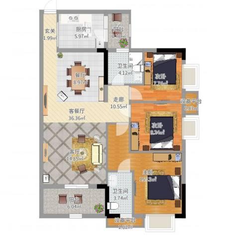 华侨城3室2厅2卫1厨116.00㎡户型图