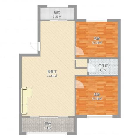 金海花园2室2厅1卫1厨96.00㎡户型图