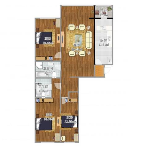 天通苑北一区3室1厅2卫1厨139.00㎡户型图