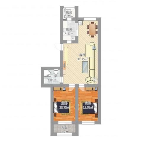 先春园世春里2室1厅1卫2厨87.00㎡户型图