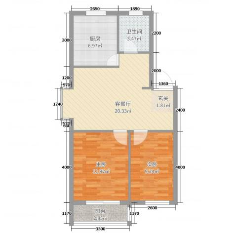 丽景国际2室2厅1卫1厨73.00㎡户型图