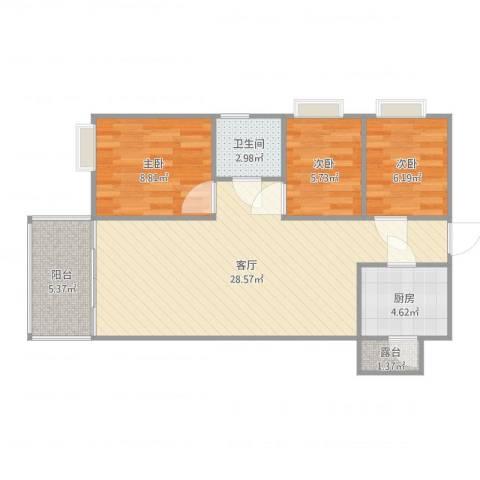 华景花园3室1厅1卫1厨80.00㎡户型图