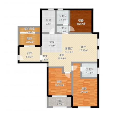 国华天玺3室2厅3卫1厨142.00㎡户型图
