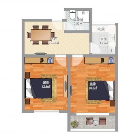 海滨五村2室1厅1卫1厨59.00㎡户型图
