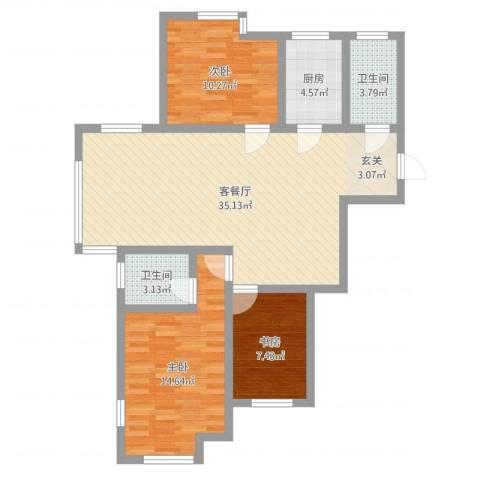 杨家滩花园3室2厅2卫1厨99.00㎡户型图