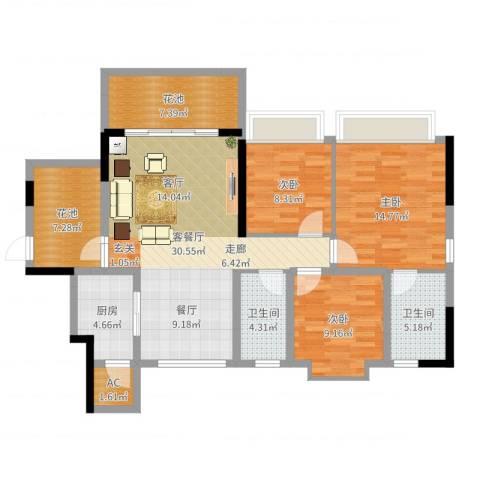 乐湾首府3室2厅2卫1厨117.00㎡户型图
