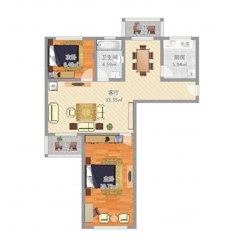 景舒苑一村2室1厅1卫1厨98.00㎡户型图