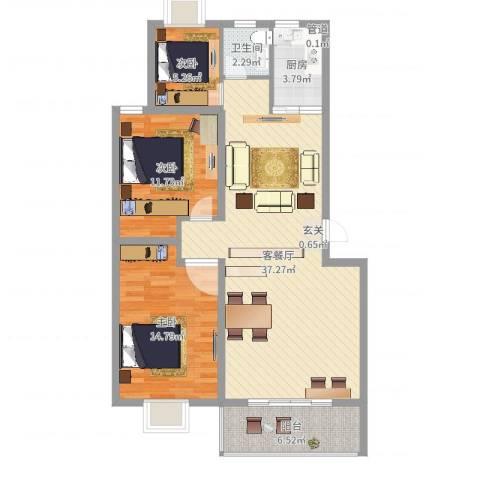 金马三区3室2厅1卫1厨102.00㎡户型图