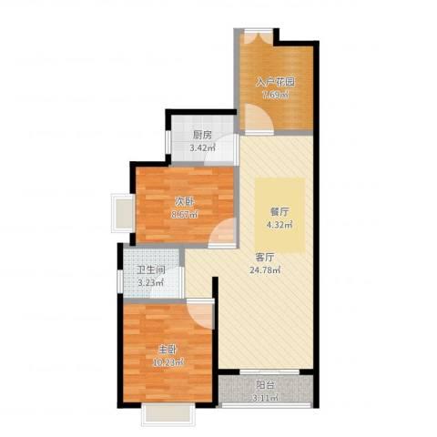 万达西双版纳国际度假区2室1厅1卫1厨76.00㎡户型图