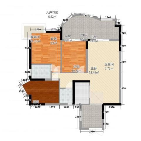 华鸿水云轩3室2厅2卫1厨138.00㎡户型图
