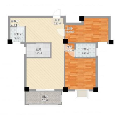 绿苑水岸名筑2室2厅2卫1厨93.00㎡户型图