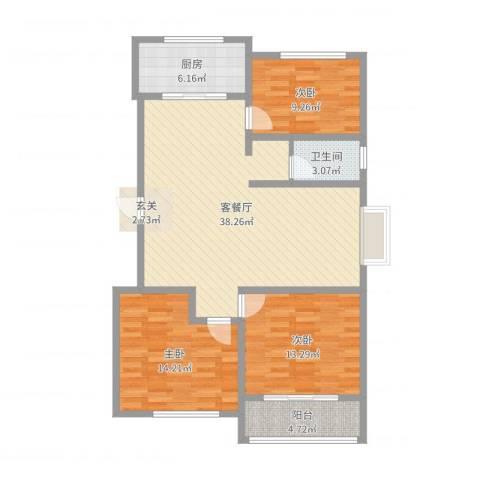 新富专家公寓3室2厅1卫1厨111.00㎡户型图